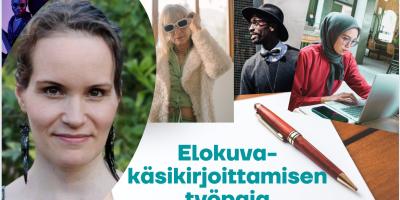 Kuva on elokuvakäsikirjoittamisen työpajan mainoskuva, jossa vasemmalla näkyy pajan vetäjä Petra Forsténin kuva, taustalla näkyy eri-ikäisten ihmisten hahmoja ja valkoisen alueen päällä on punainen kynä ja pajan nimi.